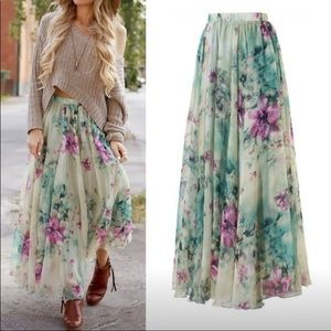 Beautiful bohemian floral lace skirt